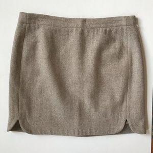 J. Crew Shirttail Mini Skirt | Tan Wool | Size 6